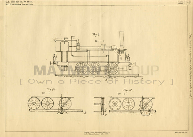 Railway Barriers Held Original Patent Lithograph 1888