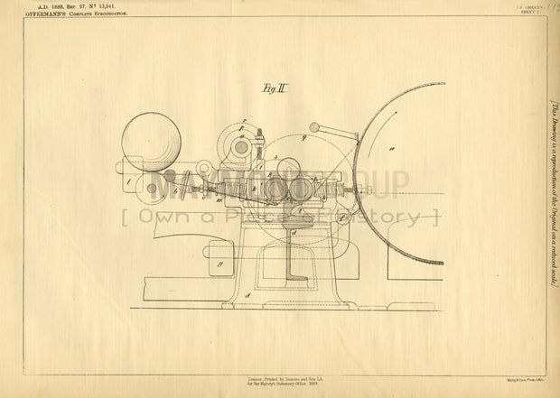 Wool Barring Apparatus Offermann Original Patent Lithograph 1888