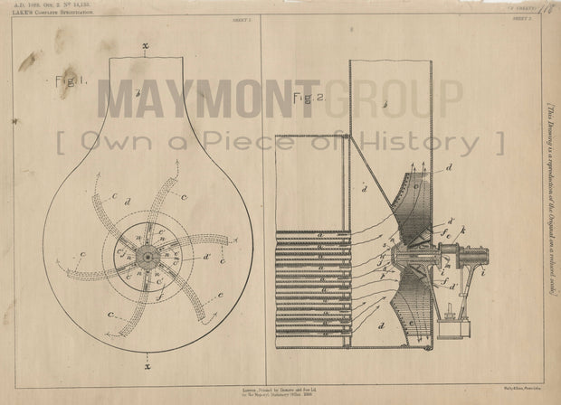 Centrifugal Fans Brown & Mosher (Lake) Original Patent Lithograph 1888