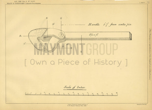Pipe Wrench Frayn & Goodyear Original Patent Lithograph 1888