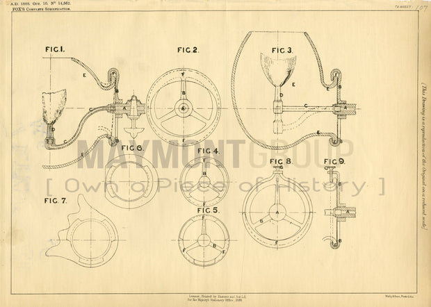Globes and Globe Holders Fox Original Patent Lithograph 1888