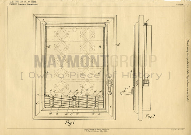 Window Guards Frere Original Patent Lithograph 1888