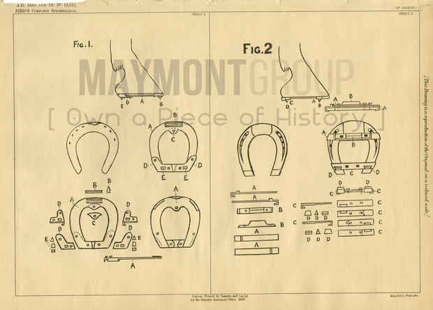 Roughing Attachment for Horse Shoes Bird Original Patent Lithograph 1888