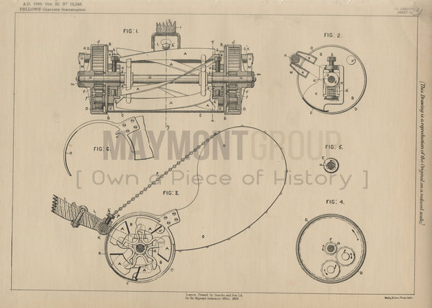 Lawn Mowers Follows Original Patent Lithograph 1888
