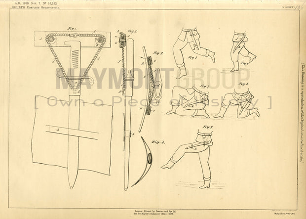 Sidearm Carriers Barbey (Boult) Original Patent Lithograph 1888