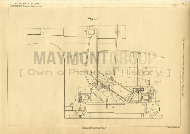 Firearm Carriage Mount Anderson Original Patent Lithograph 1888