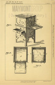 Typewriter Cabinet Fitch Original Patent Lithograph 1888
