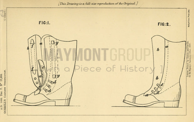 Boots Gorrill Original Patent Lithograph 1888