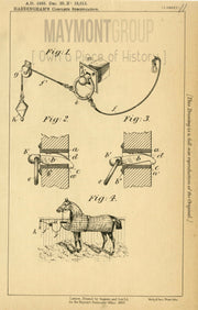 Horse Stall Halters Hardingham Original Patent Lithograph 1888