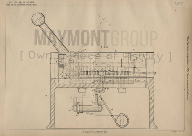 Ticket Punching Apparatus Danner Original Patent Lithograph 1888
