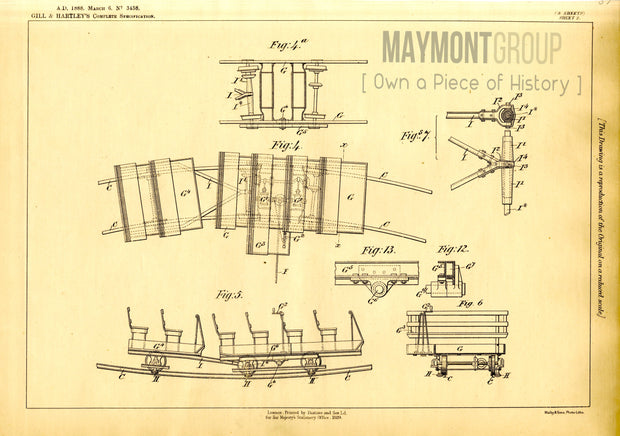 Railways for Recreation Gill & Hartley Original Patent Lithograph 1888