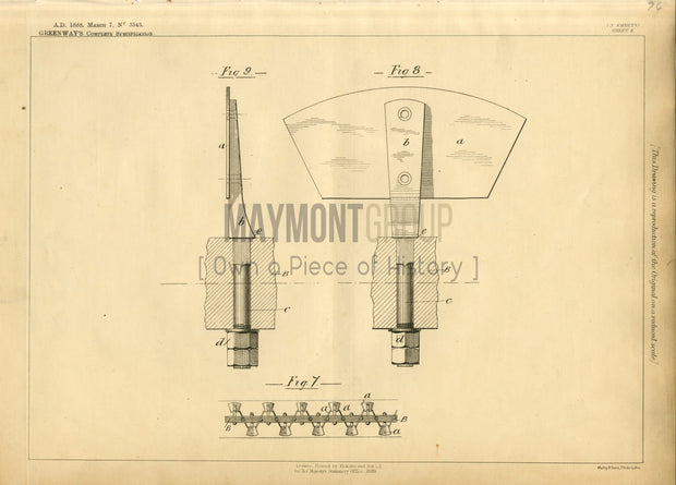 Sand-washing Elevator Apparatus Greenway Original Patent Lithograph 1888
