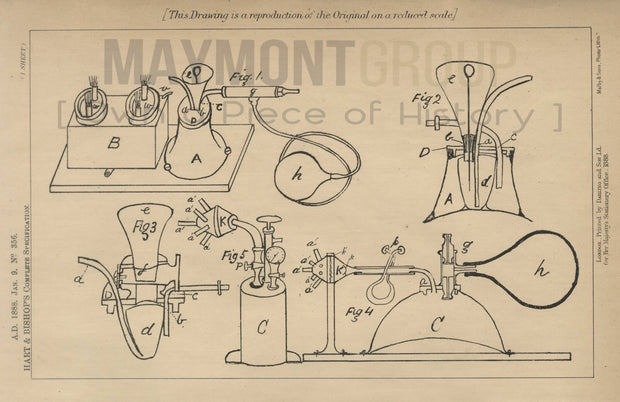 Actinic Lamps Hart & Bishop Original Patent Lithograph 1888
