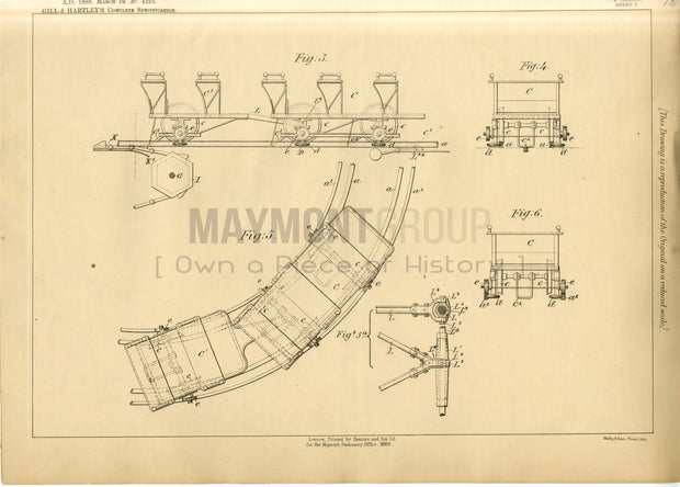 Railways Gill and Hartley Original Patent Lithograph 1888