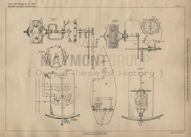 Mounting for Regulating Speed Fiske Original Patent Lithograph 1888