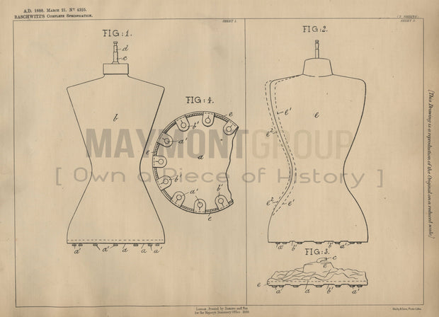 Lay Figure Stand Baschwitz Original Patent Lithograph 1888