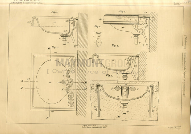 Lavatory Basins (Sinks) Twyford Original Patent Lithograph 1888
