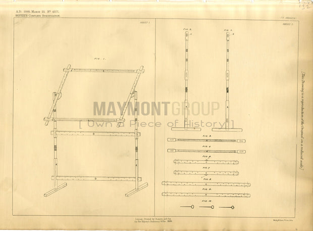 Frames for Embroidery Soper Original Patent Lithograph 1888