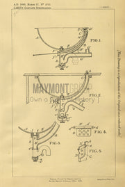 Lavatory Basins Boyd & Wade (Lake) Original Patent Lithograph 1888