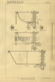 Lavatory Basins and Baths Boyd & Wade (Lake) Original Patent Lithograph 1888