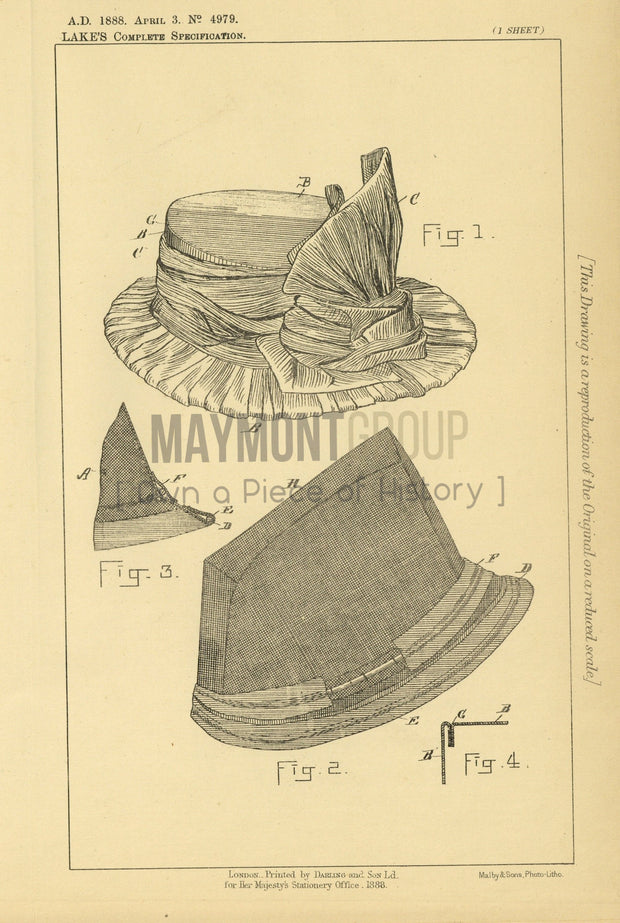 Waterproof Bonnets or Hats Stewart (Lake) Original Patent Lithograph 1888