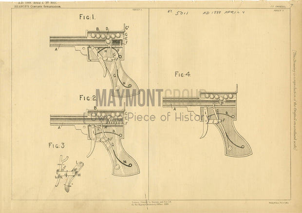 Toy Pistol Reason Original Patent Lithograph 1888