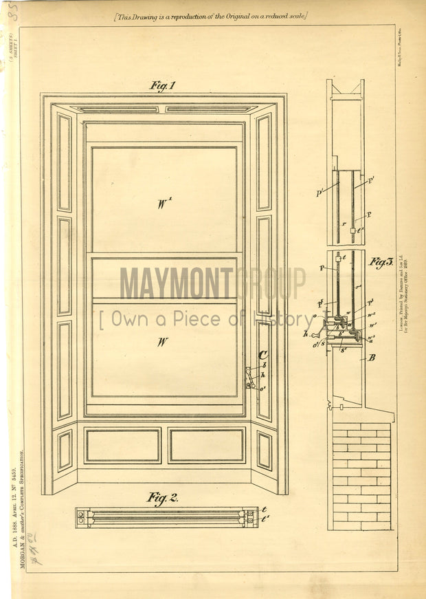 Platform Lifts Morgan & Jeffrey Original Patent Lithograph 1888
