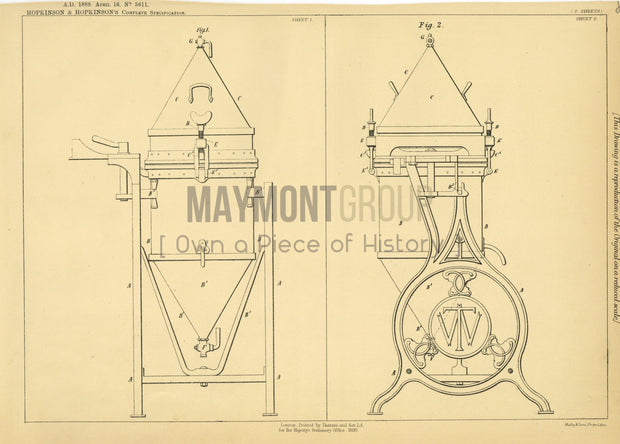 Washing Machines Hopkinson & Hopkinson Original Patent Lithograph 1888