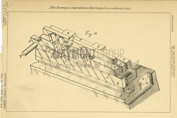 Trellis and Lattice Work Method Golding (Lake) Original Patent Lithograph 1888