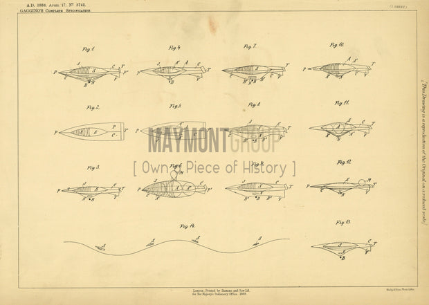 Aerial Machine Gaggino Original Patent Lithograph 1888