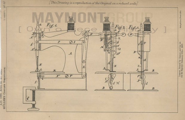 Toy Sewing Machines Müller Original Patent Lithograph 1888
