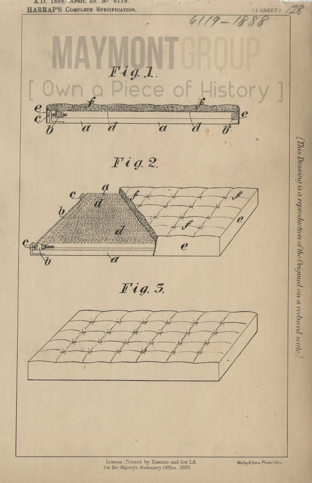 Mattresses Harrap Original Patent Lithograph 1888