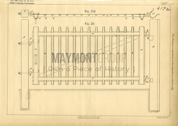 Gates and Fences Kirk Original Patent Lithograph 1888