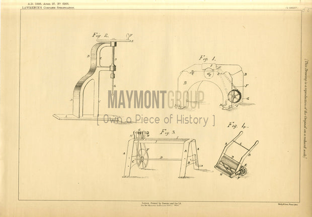 Toy Machine Lawrence Original Patent Lithograph 1888