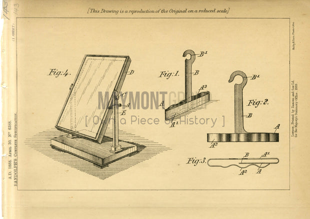 Swinging Mirror Lock Randolph Original Patent Lithograph 1888