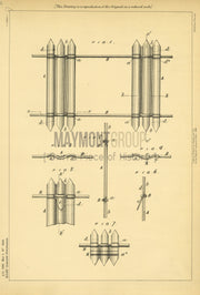 Picket Fences Miles Original Patent Lithograph 1888