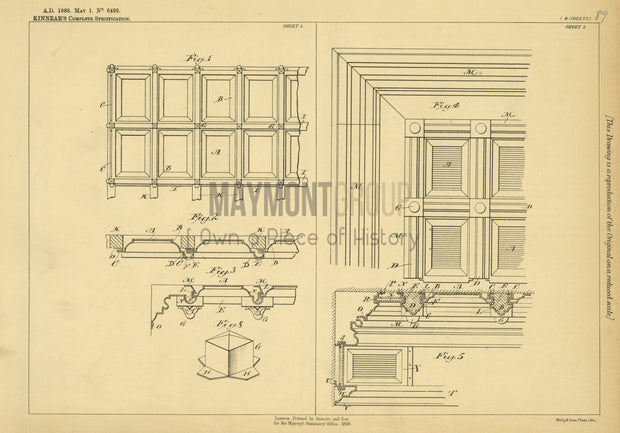 Metallic Ceilings Kinnear Original Patent Lithograph 1888