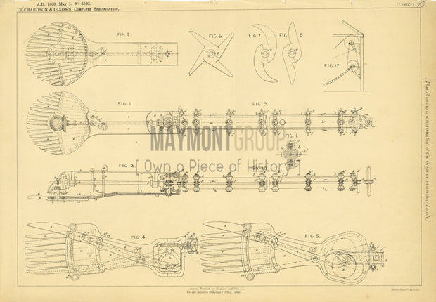 Animal Clippers and Shears Richardson & Dixon Original Patent Lithograph 1888