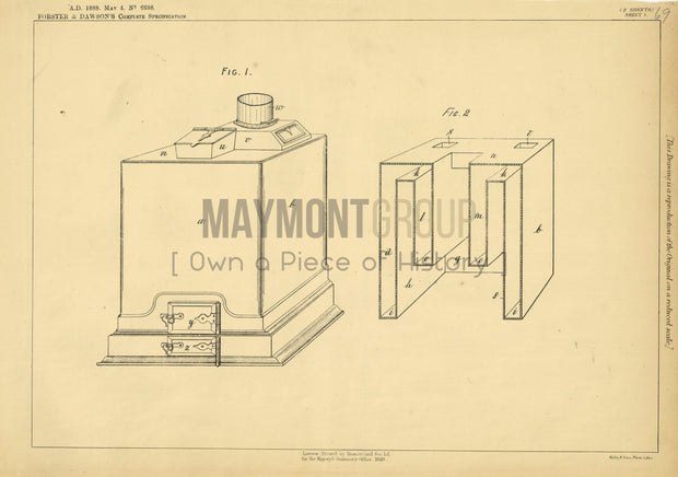 Water Heater Forster and Dawson Original Patent Lithograph 1888