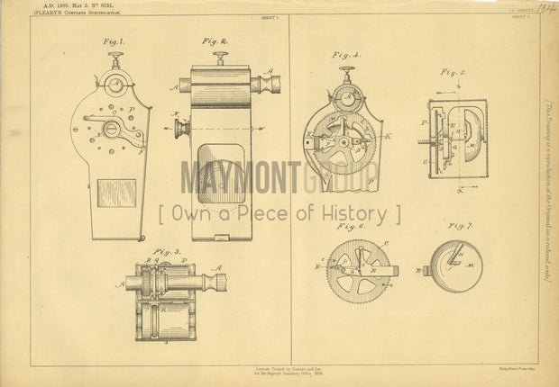 Velocipede Bicycle Bells O'Leary Original Patent Lithograph 1888
