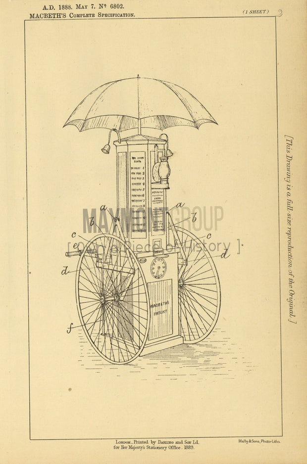 Mobile Sale Apparatus Macbeth Original Patent Lithograph 1888