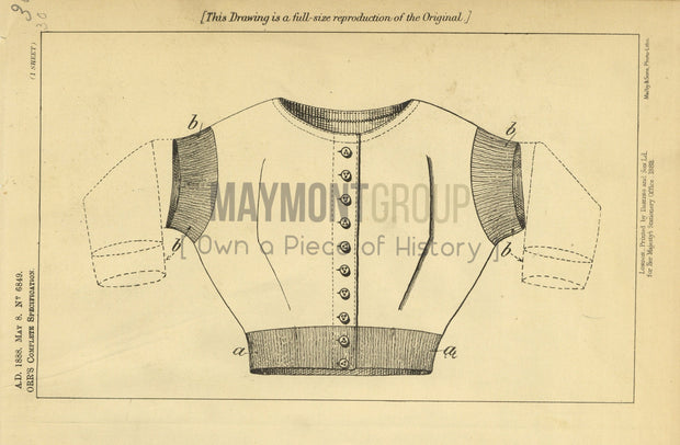 Under Vests Orr Original Patent Lithograph 1888