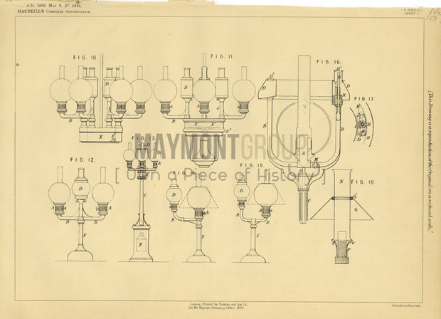 Oil Supply Method for Oil Lamps Macneill Original Patent Lithograph 1888