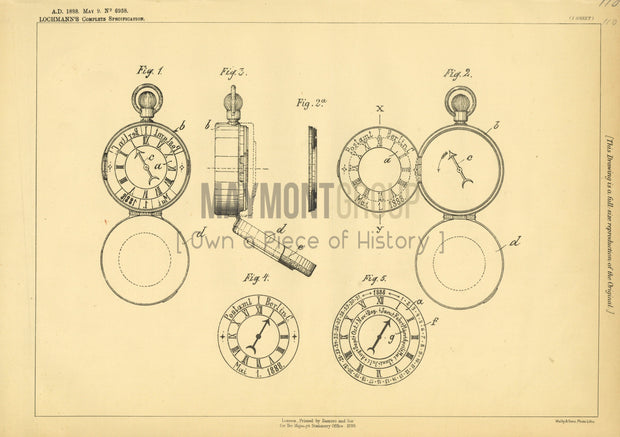 Time and Date Hand Stamps Lochmann Original Patent Lithograph 1888