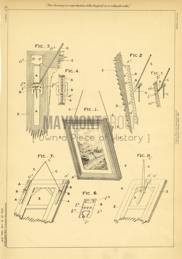 Means for Hanging Pictures Snelgrove Original Patent Lithograph 1888