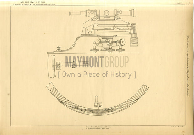 Weapon Sighting Ordnance Vaughan-Arbuckle Original Patent Lithograph 1888