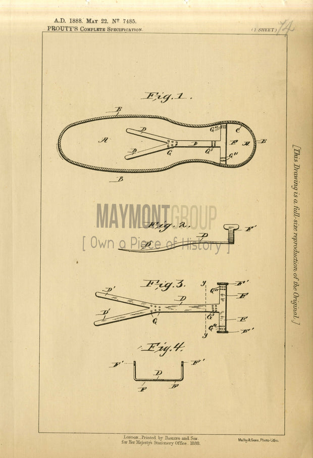 Ankle Support in Shoes Prouty Original Patent Lithograph 1888
