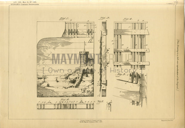 Scenery for Theatres Killham Original Patent Lithograph 1888