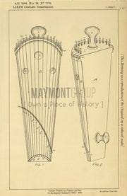 Bowed Instruments Talbot (Lake) Original Patent Lithograph 1888