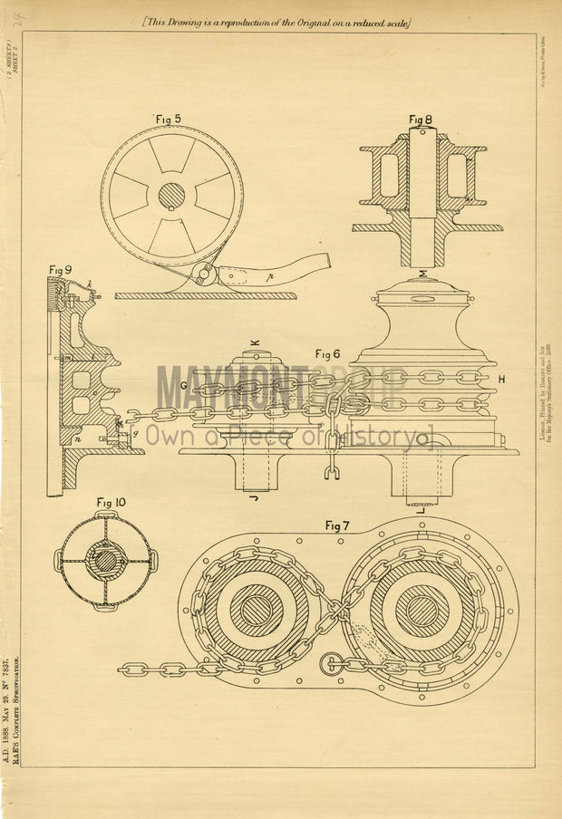 Windlasses Rae Original Patent Lithograph 1888